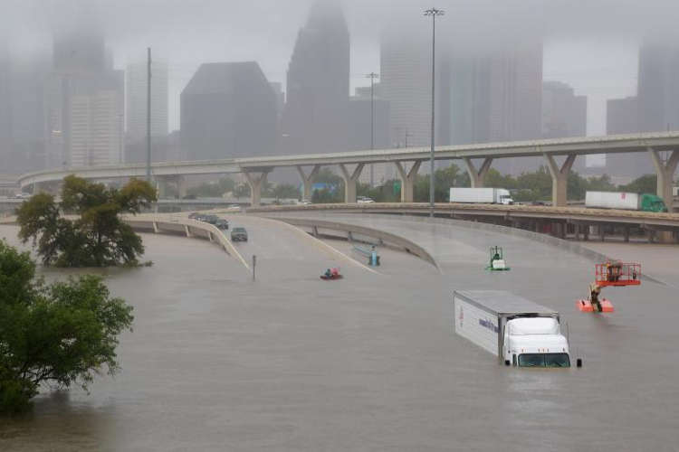 Interstate Highway 45 is submerged in Houston. REUTERS/Richard Carson