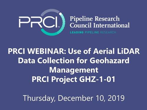 PRCI WEBINAR (RECORDING): Use of Aerial LiDAR Data Collection for Geohazard Management