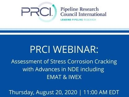 PRCI WEBINAR (RECORDING): Assessment of SCC with Advances in NDE including EMAT & IWEX Imaging