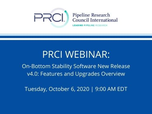 PRCI WEBINAR: On-Bottom Stability Software New Release V4.0: Features and Upgrades Overview