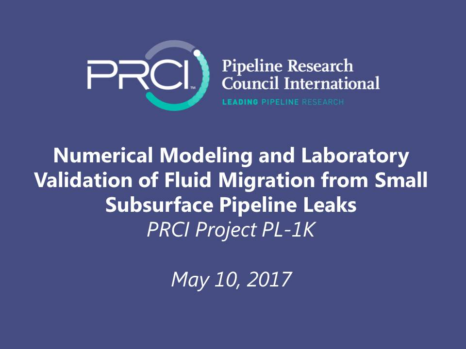 WEBINAR (RECORDING): Numerical Modeling and Laboratory Validation of Fluid Migration from Small Subsurface Pipeline Leaks (PL-1K)